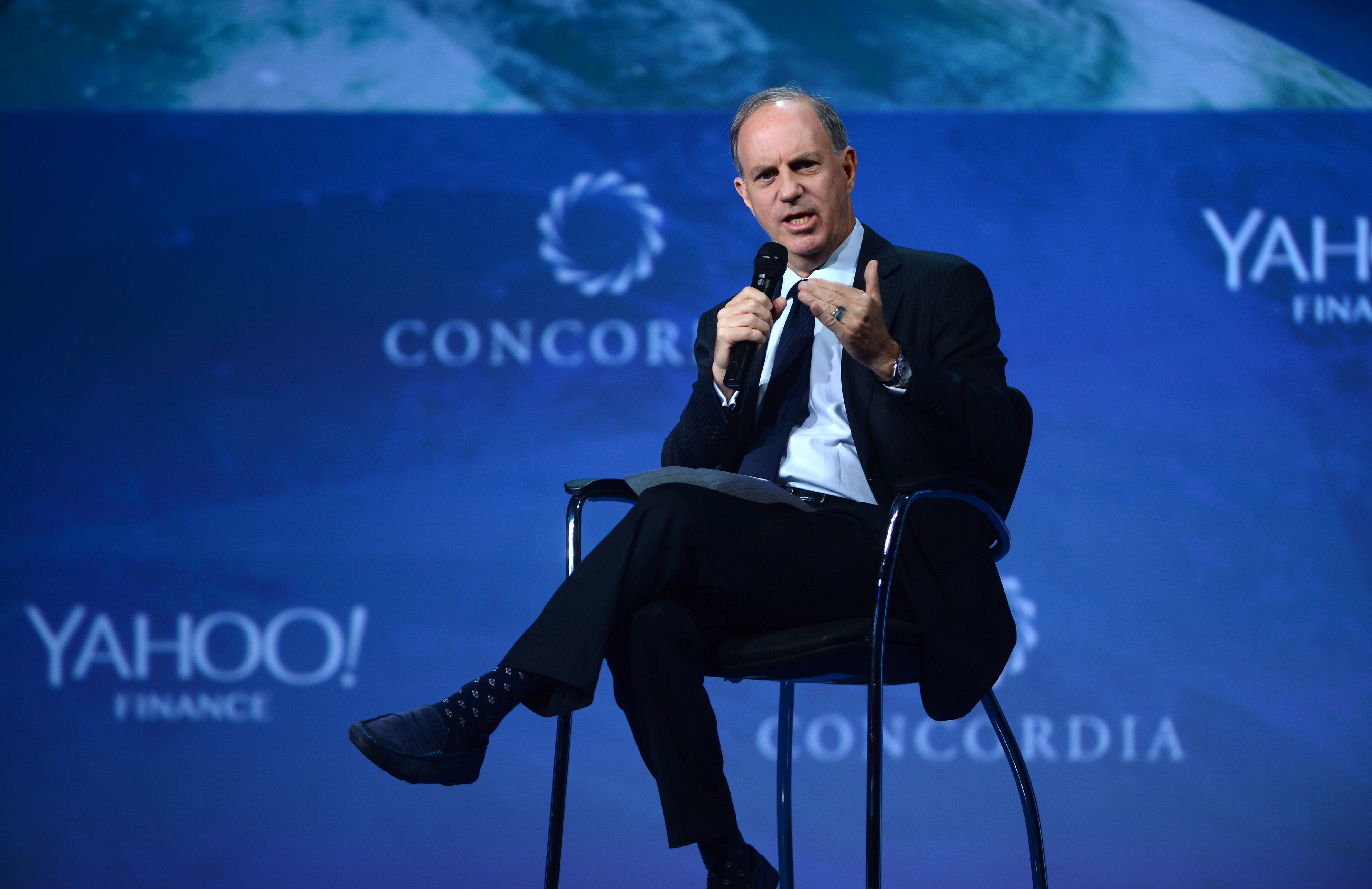 NEW YORK, NY - SEPTEMBER 20: Yahoo! Finance Editor-in-Chief Andy Serwer speaks at the 2016 Concordia Summit - Day 2 at Grand Hyatt New York on September 20, 2016 in New York City. Riccardo Savi/Getty Images for Concordia Summit/AFP