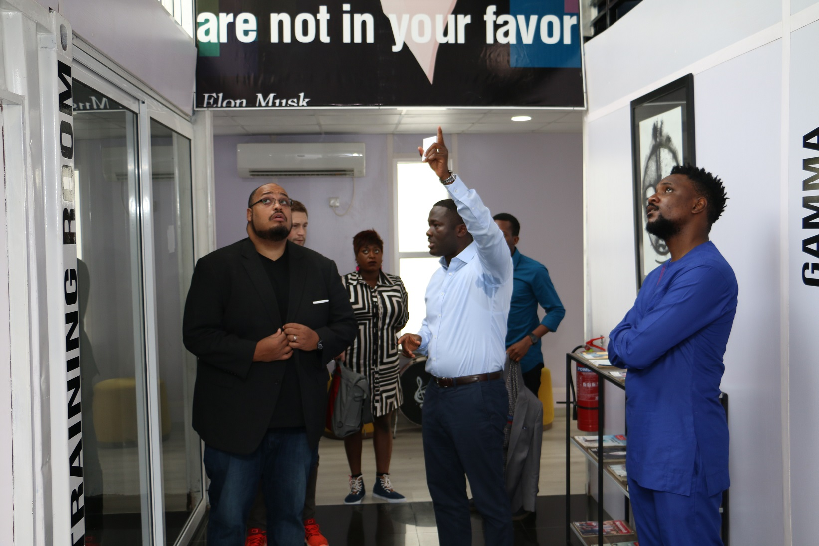 The CEO of Y Combinator, Michael Seibel on a tour of Ventures Platform offfice in Abuja on Tuesday