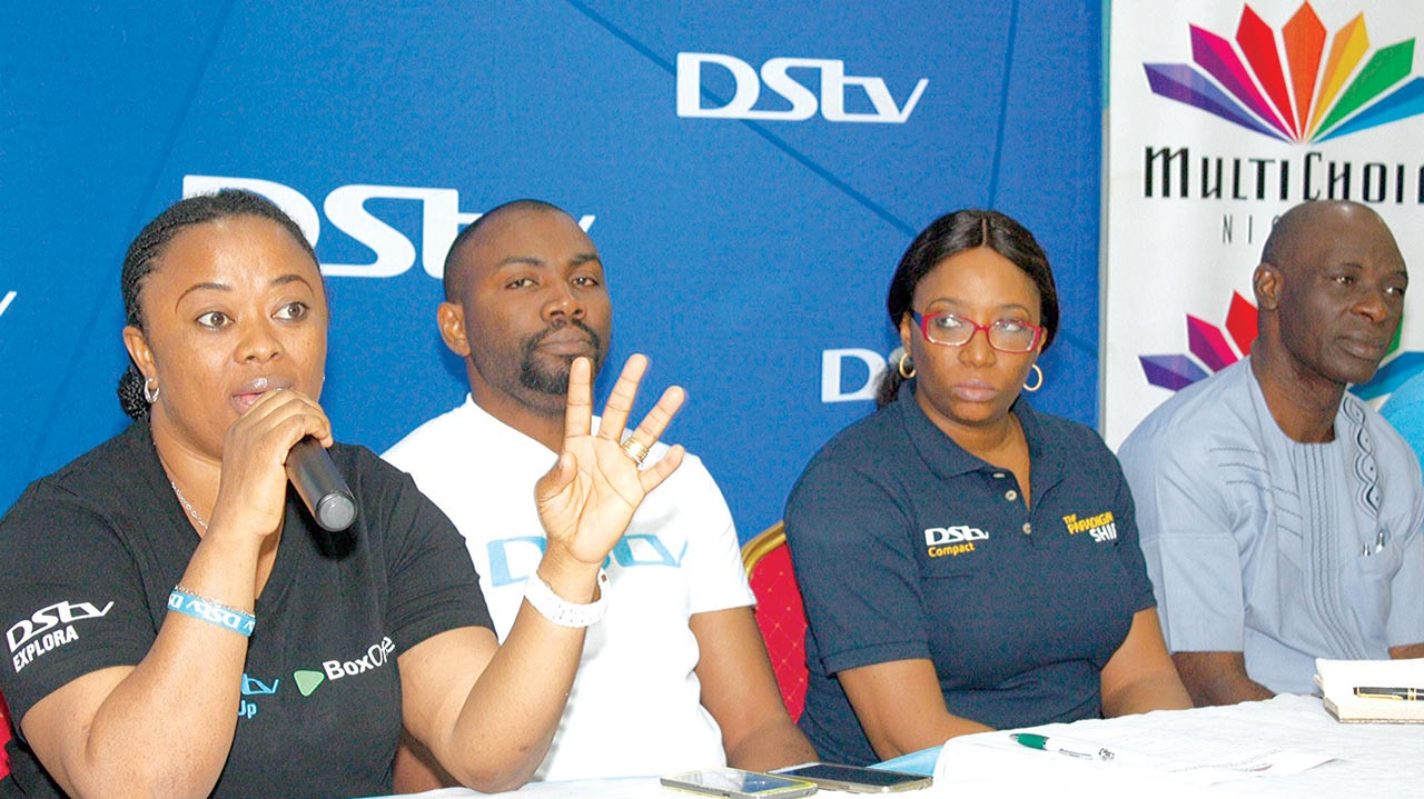 Branch Supervisor, MultiChoice Office, Ikeja, Isoken Ogbasi (left); Branch Manager, Segun Ogunsemowo, Public Relations Manager, MultiChoice Nigeria, Caroline Oghuma MultiChoice Super Dealer, John Ogbata and, Branch Manager, Multichoice, Surulere, Daniel Ebesunun during the DStv customers' forum Akowonjo in Lagos at the weekend          				            PHOTO: FEMI ADEBESIN-KUTI