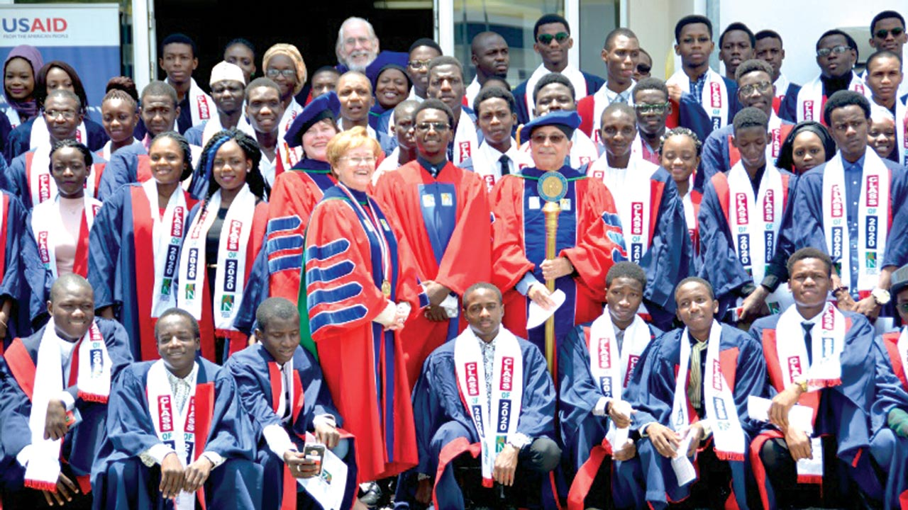 President of American University of Nigeria (AUN), Dr. Margee Ensign and other principal officers of the school, flanked by newly matriculated students