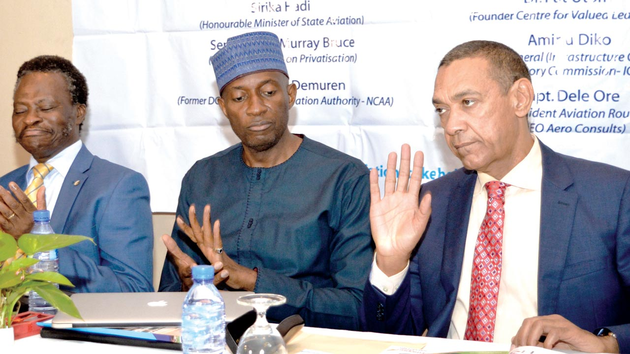 Former Director-General, Nigerian Civil Aviation Authority, Harold Demuren (left); Chairman Airline Operators, Nigeria, Capt. Nogie Meggison and Chairman Senate Committee on Privatisation, Sen. Ben Murray-Bruce, at a stakeholders conference on aviation in Lagos…yesterday    												PHOTO: NAN