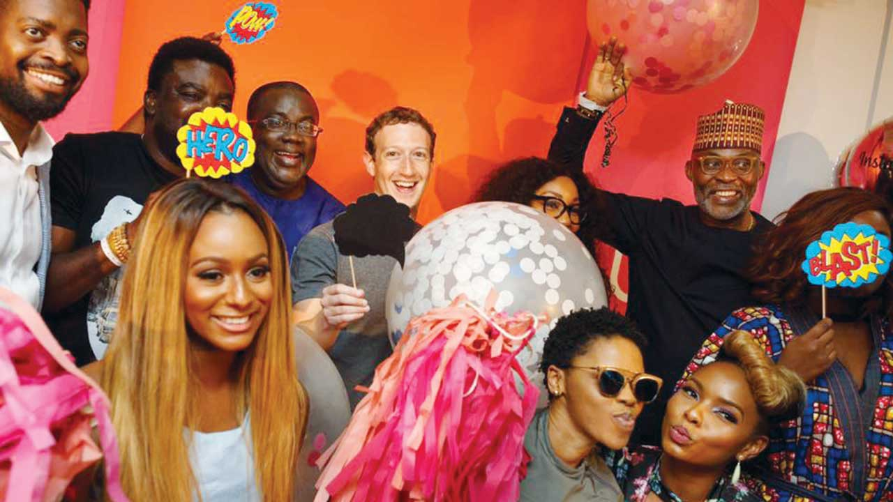 Zuckerberg (middle) with Nollywood stars at Afrinolly Studio, Ikeja, Lagos.