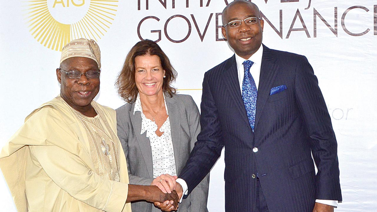 Former President Olusegun Obasanjo (left), founding dean of the Blavatnik School of Government and professor of Global Economic Governance, University of Oxford, Prof. Ngaire Woods and Chairman, Africa Initiative for Governance (AIG), Aigboje Aig-Imoukhuede at the AIG panel of advisors roundtable in Lagos…yesterday					 PHOTO: FEMI ADEBESIN-KUTI
