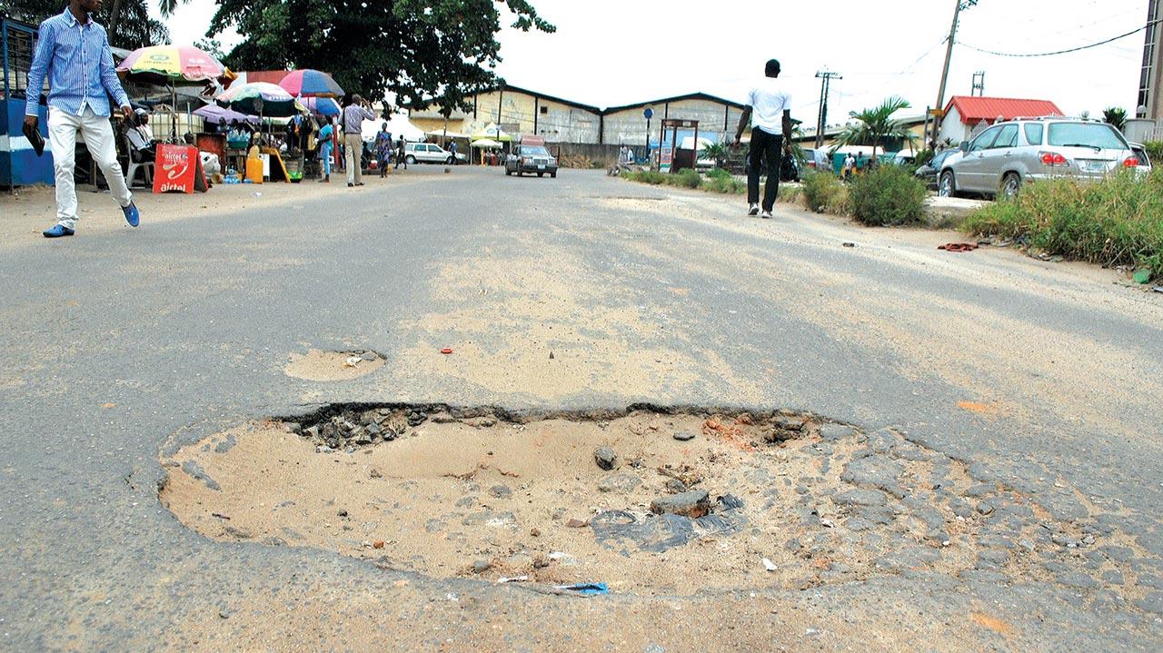 A pothole in Ajao Estate
