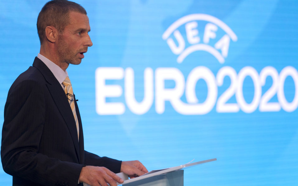 UEFA president, Aleksander Ceferin speaks an event to launch the logo for the 2020 UEFA European Championship football tournament in London on September 21, 2016.  The 2020 UEFA European Championship will see matches hosted in 13 cities across Europe, with the semi-finals and final staged at Wembley Stadium in London in July 2020. / AFP PHOTO / JUSTIN TALLIS