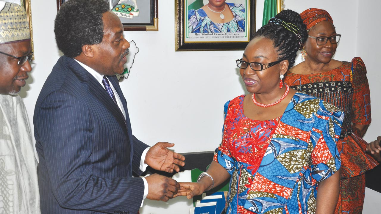 President/Chairman of the Governing Council of Chartered Institute of Personnel Management of Nigeria CIPM, Anthony Arabome with the Head of the Civil Service of the Federation Mrs. Winifred Oyo-Ita at a recent courtesy visit by CIPM Nigeria in Abuja