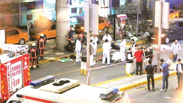 Scene of the recent terrorists' attack at Ataturk international airport, Turkey.