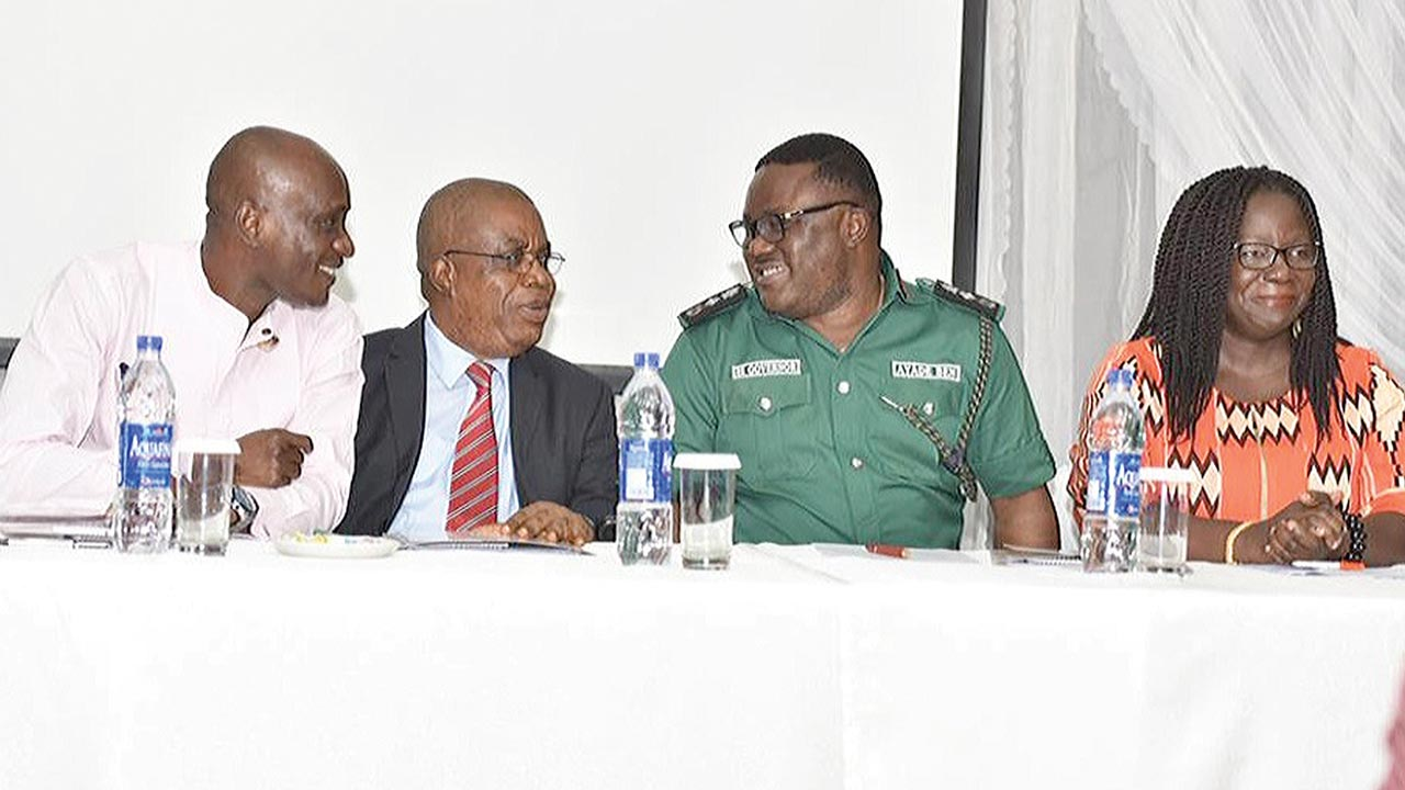 Speaker, Cross River State House of Assembly, John Lebo (left); Deputy Governor, Prof. Ivara Esu, Governor Ben Ayade and UNDP Senior Regional Technical Adviser, Elsie Attafuah at the event