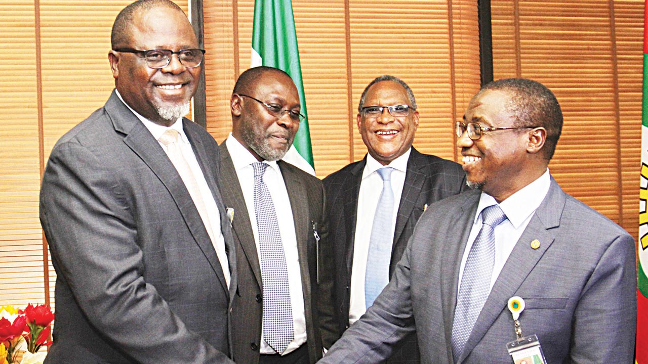 Secretary General, Nigeria Gas Association (NGA), Adebola Martins (left); President NGA, Bolaji Osunsanya, Group Executive Director and Chief Operating Officer, Gas and Power Directorate, Nigerian National Petroleum Corporation (NNPC), Saidu Mohammed; and Group Managing Director, NNPC, Dr.Maikati Baru during a courtesy call by the NGA to Baru in Abuja.