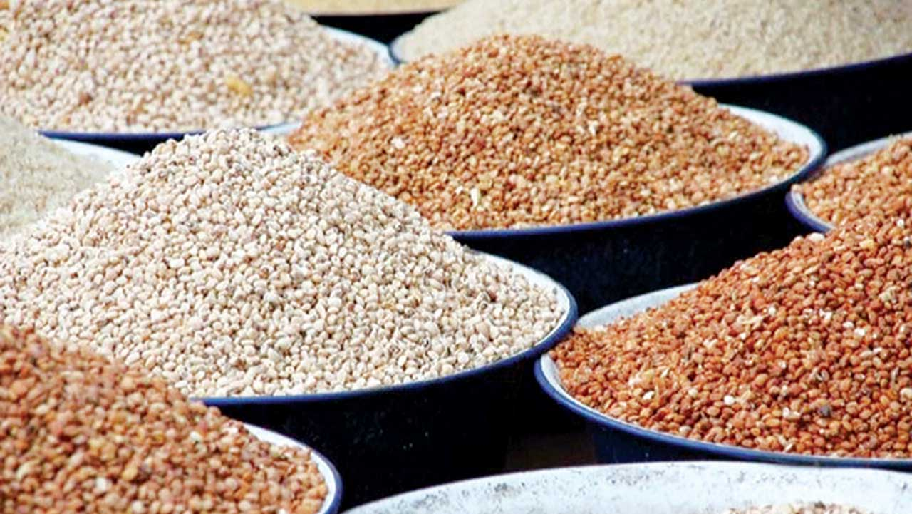 Nigeria's dried beans on display for sale in an open market, but rejected abroad