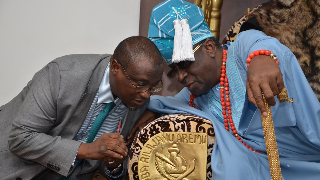 Group Managing Director of the Nigerian National Petroleum Corporation, Dr. Maikanti Baru, conferring with the Oba of Lagos, His Royal Highness Rilwanu Akiolu, during a visit to the palace, in Lagos.