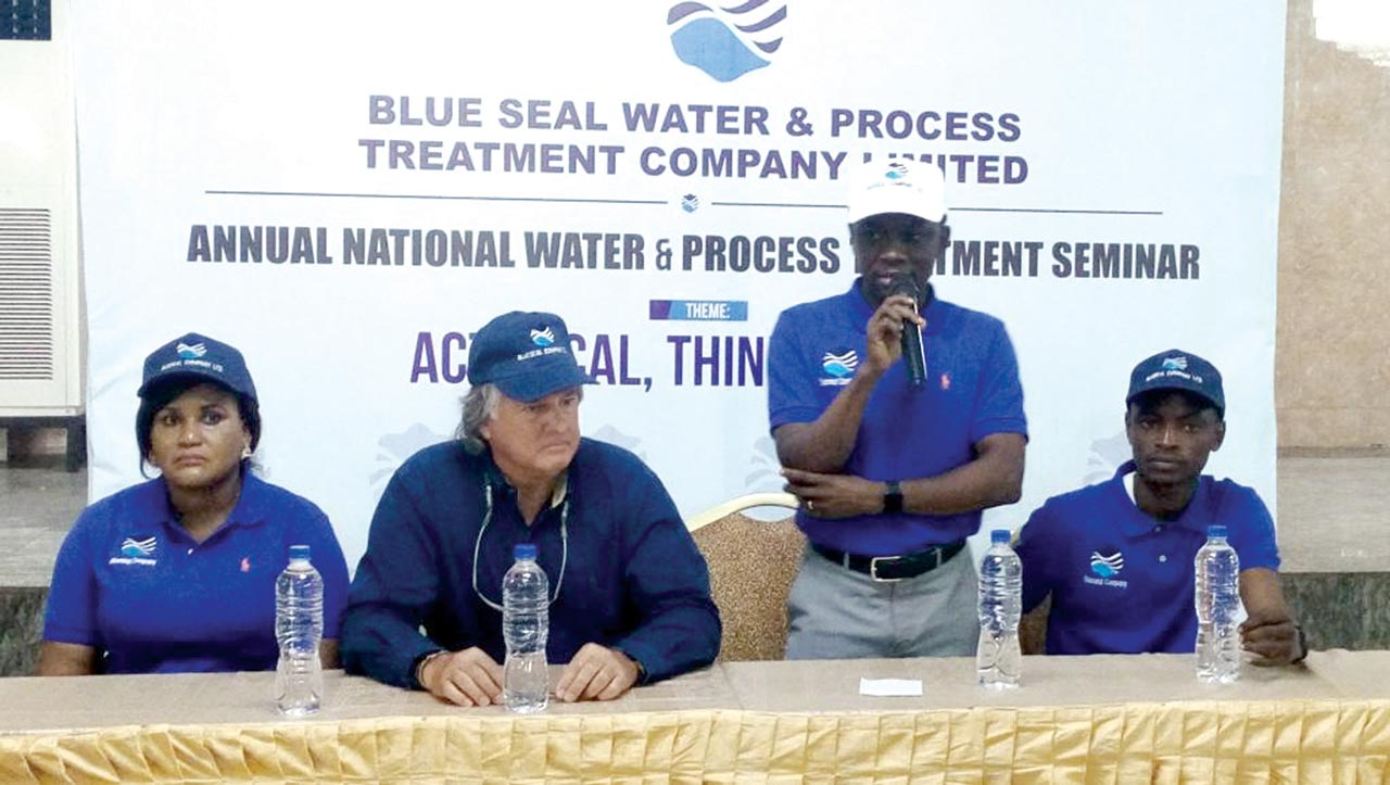 From left, Head of Lab Services, Blue Seal Group, Mrs. Adeyemi Josephine; Chairman, Blue Seal Group U.S.A, Mr. Buddy Kingston; Group Managing Director, Mr. Doyle Edeni and Sales manager, Mr. Elisha Braimoh, at the Annual National Water and Process Treatment Seminar, held in Lagos