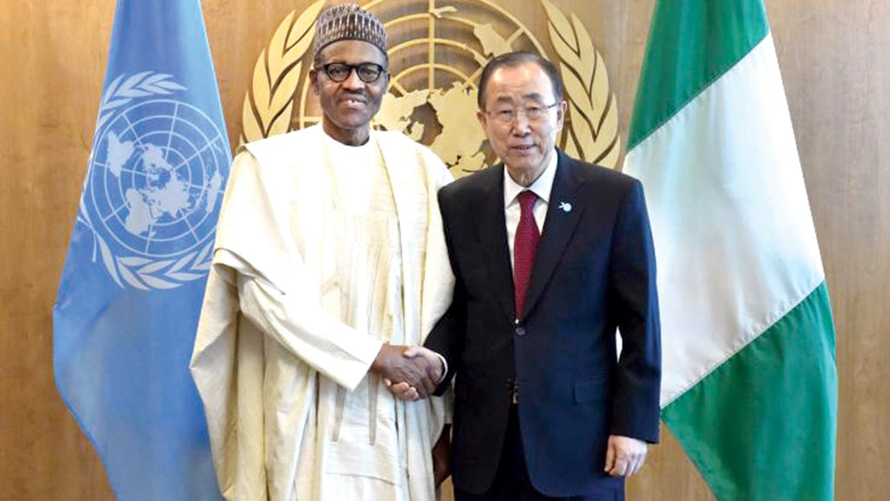 Ban ki Moon and Buhari at a UN forum