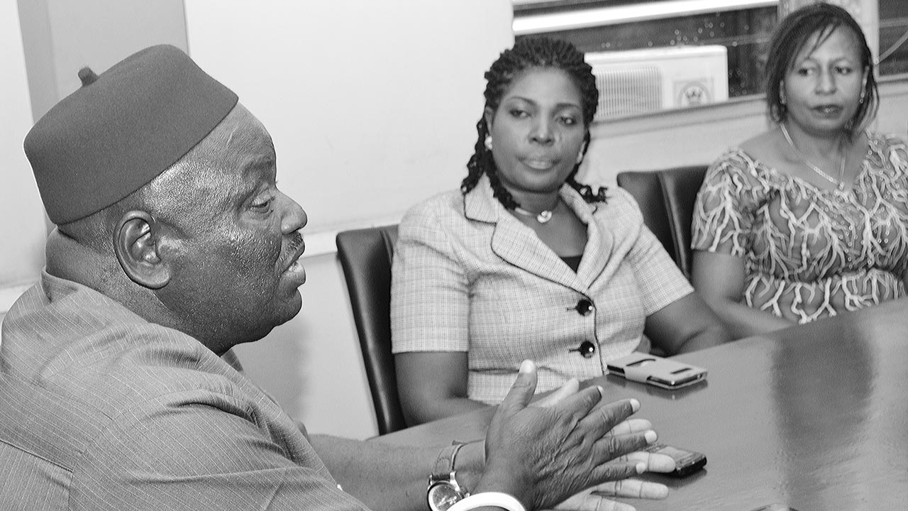 Director General, Centre for Black and African Arts and Civilization (CBAAC), Dr. Anikwe Ferdinand, (left); Director, Information Management Division, Mrs. Osayande Osaro, and Director D/S, Mrs. Ndidi Aimienwauu during a courtesy visit to The Guardian corporate head office, Rutam House, Isolo, Lagos… yesterday. PHOTO: Gabriel Ikhahon.