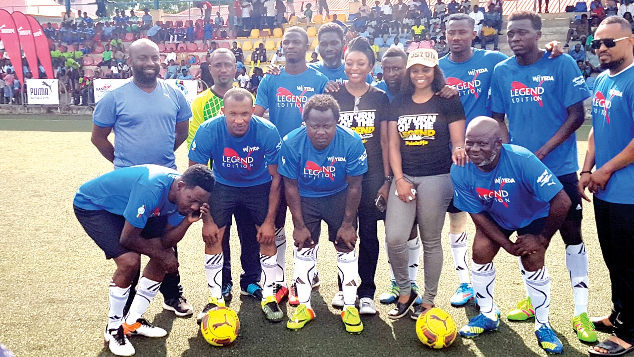 A team of Nigeria's celebrities line up before their novelty match against retired Super Eagles players at the Campos Mini Stadium, Onikan, Lagos…at the weekend.