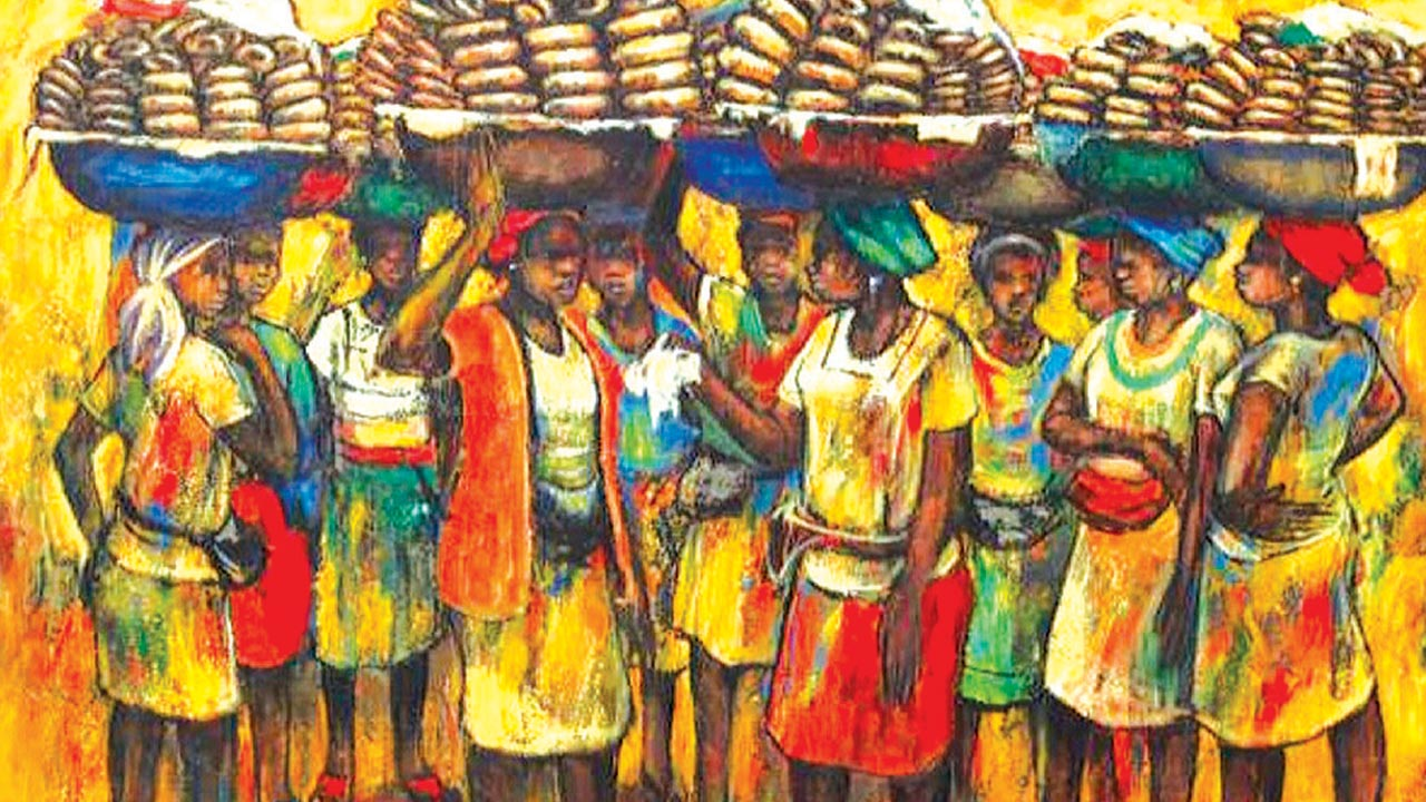One of Kolade Osinowo's paintings, Youth Wing