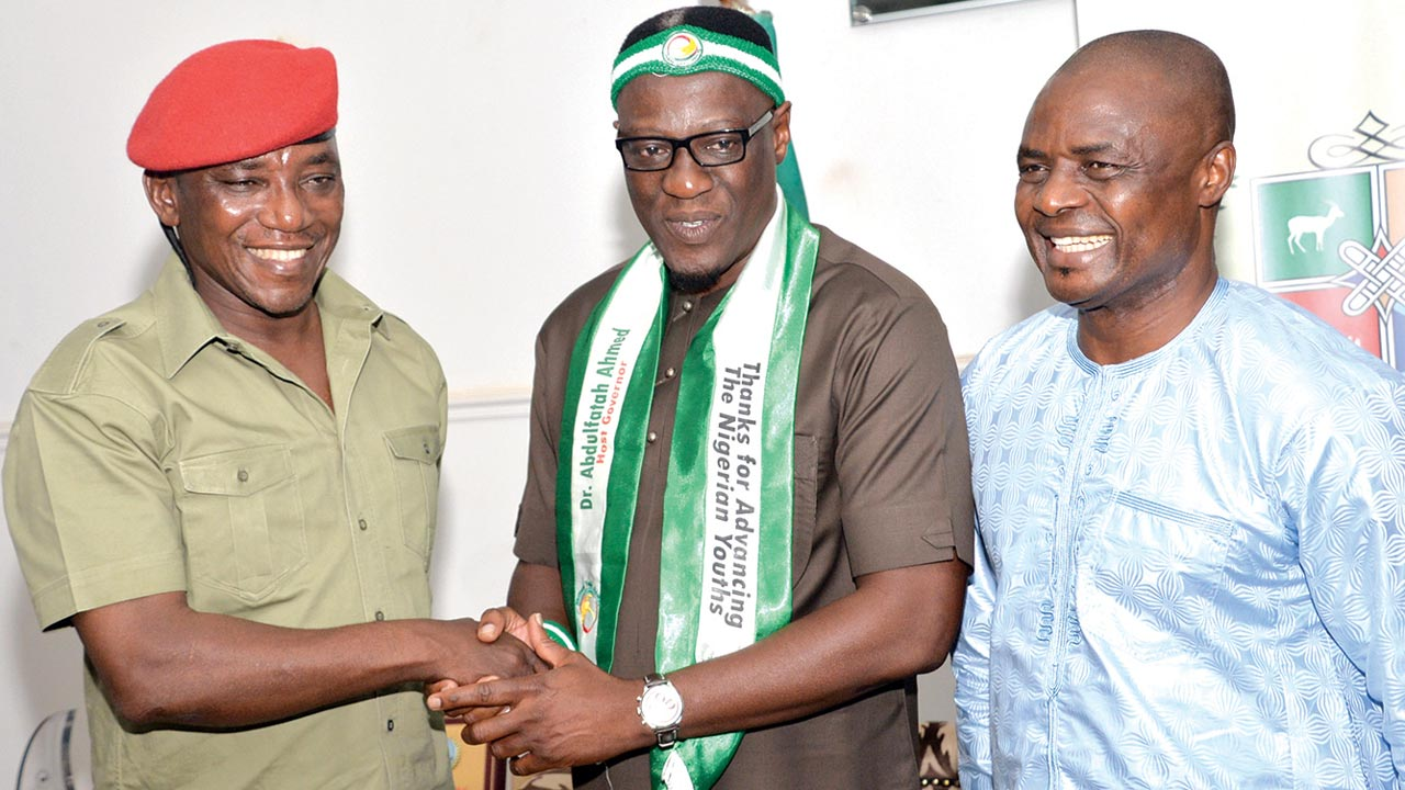 Sports Minister, Solomon Dalung (left), Kwara State Governor, Dr. Abdulfatah Ahmed, and Permanent Secretary, Federal Ministry of Youth and Sports Development, Christian Chinyeaka Ohaa, when they visited the governor at Government House, Ilorin…at the weekend.