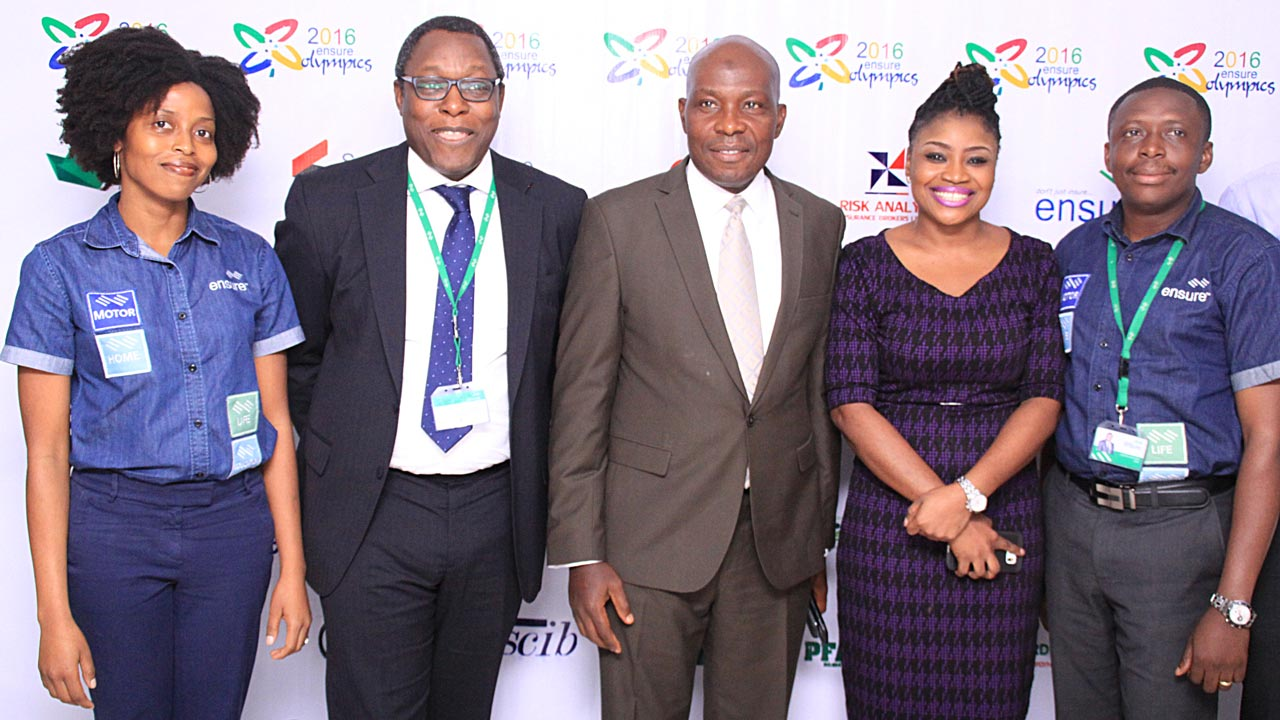 Representatives of Ensure Insurance, Lara Junaid (left); Owolabi Salami; Hogg Robinson Insurance Brokers, Awolaja Abdulatif; YOA Insurance Brokers, Eyitemi Efole; and Gideon Ataraire of Ensure Insurance, at the Ensure Olympics press briefing in Lagos.