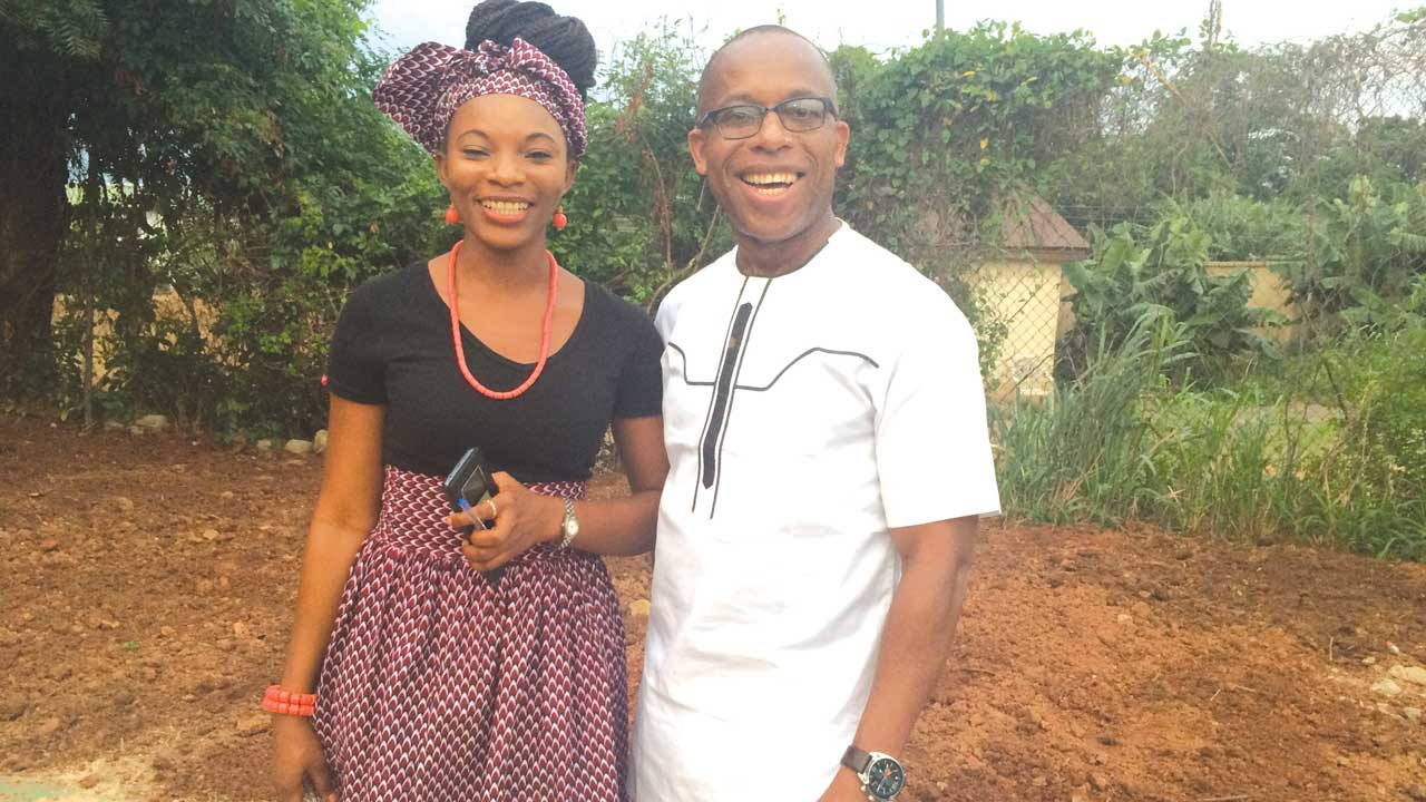 Organiser of Enugu BookJam and Open Mic reading event and Zonal Director, Federal Radio Corporation of Nigeria (FRCN), Enugu, Mr. Ken Ike Okere and young artist, Miss Amarachi Atama at the event… in Enugu