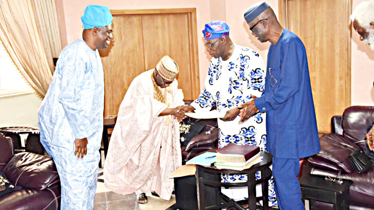 Director, Olusegun Obasanjo Good Governance and Development Research Centre, Prof. A.Y. Shehu (left); Vice Chancellor, National Open University of Nigeria (NOUN), Prof. Abdalla Uba Adamu; former President Olusegun Obasanjo and Deputy Vice Chancellor, (Administration) of the school, Prof. Victor Adedipe during the visit of the vice chancellor to Obasanjo in Abeokuta, Ogun State…yesterday