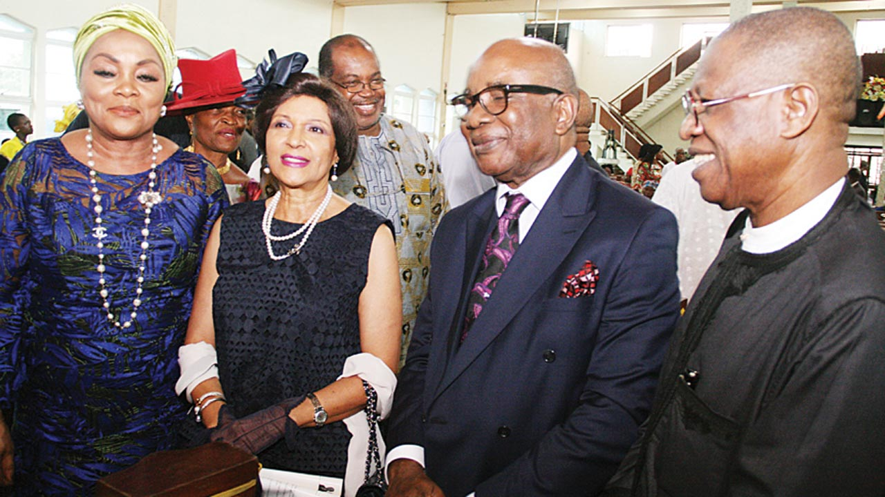 Olori Ladun Sijuade (left); Publisher, The Guardian, Lady Maiden Alex Ibru; renowned photographer, Sunmi Smart-Cole and Minister of Information, Alhaji Lai Mohammed during a thanksgiving service and holy communion to mark the 75th birthday of Smart-Cole at the All Saints' Church (Anglican Communion), Yaba, Lagos… yesterday. PHOTO: OSENI YUSUF
