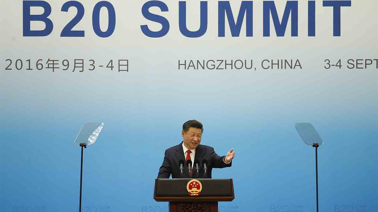 China's President Xi Jinping speaks during the opening ceremony of the B20 Summit prior to the G20 Summit in Hangzhou on September 3, 2016. World leaders are gathering in Hangzhou for the 11th G20 Leaders Summit from September 4 to 5. / AFP PHOTO / POOL AND AFP PHOTO / ALY SONG