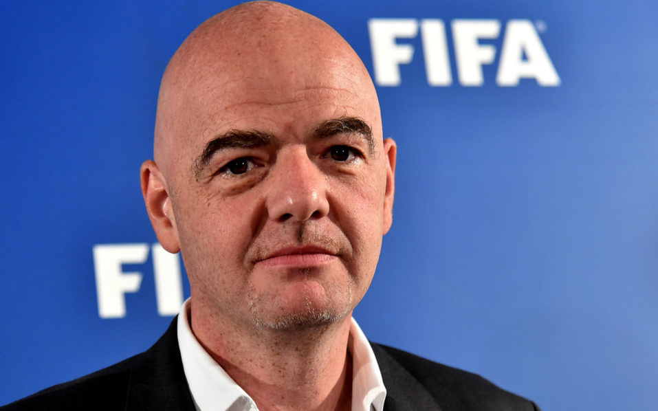 FIFA president Gianni Infantino looks on as he arrives on September 2, 2016 at San Nicola stadium in Bari, for a press conference about the Video Assistant Referee (VAR), tested for the first time the day before during the friendly football match Italy vs France. Video refereeing was trialled for the first time in an international match, during the friendly between Italy and France on September 1 in Bari. An extra assistant referee on the sidelines was able to communicate with the on-pitch referee during the game. The tests have the support of the IFAB, the body who govern the rules of the game. Video tests have been ongoing in the third tier of the United States since July.  / AFP PHOTO / ALBERTO PIZZOLI