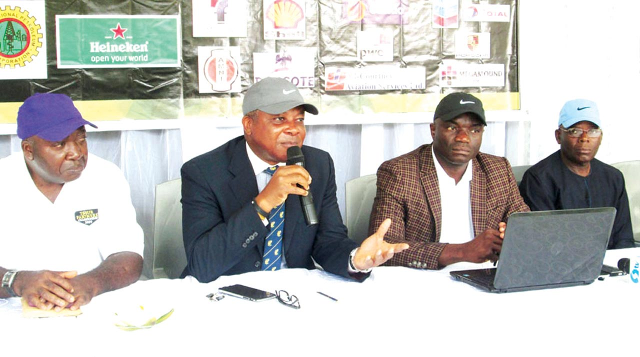 Member of 2016 Nigeria Cup Committee, Abiodun Famuagun; Chairman, Ikoyi Golf Community Nigeria Association, (IGCNA), Tunde Johnson; Chairman, 2016 Nigeria Cup Committee, Bayo Alli; and a member of the Committee, Abisoye Fagade, at a pre-Nigeria Cup briefing at the golf section of Ikoyi Club… on Wednesday.
