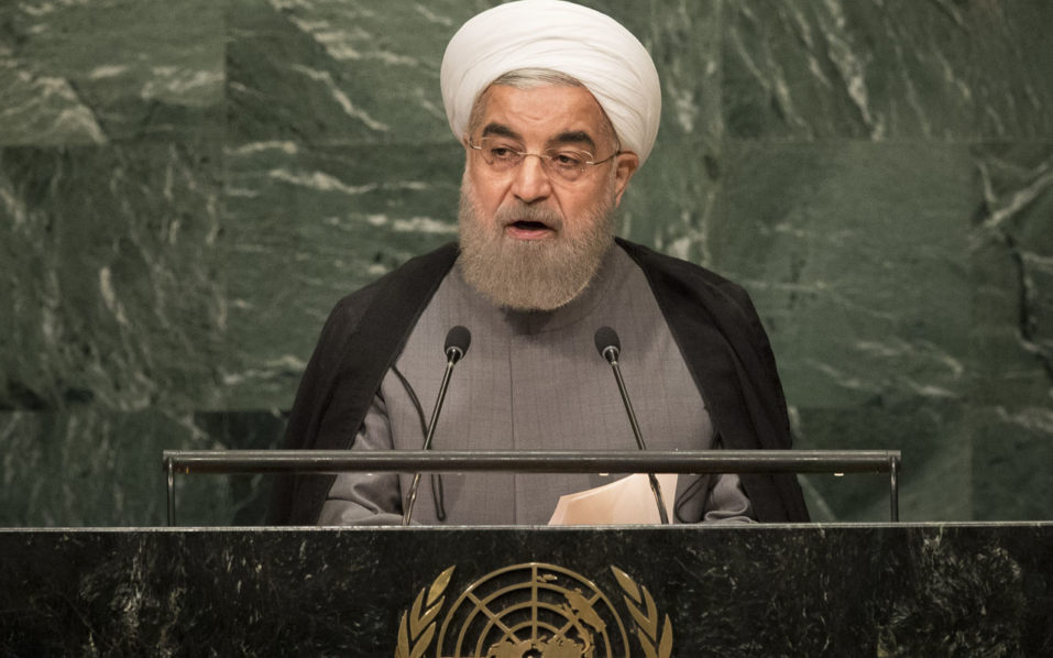 NEW YORK, NEW YORK - SEPTEMBER 22: President of Iran Hassan Rouhani addresses the United Nations General Assembly at UN headquarters, September 22, 2016 in New York City. According to the UN Secretary-General Ban ki-Moon, the most pressing matter to be discussed at the General Assembly is the world's refugee crisis.   Drew Angerer/Getty Images/AFP