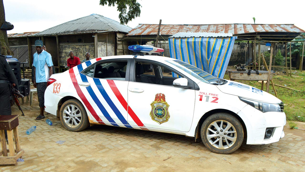 A police vehicle stationed in the area