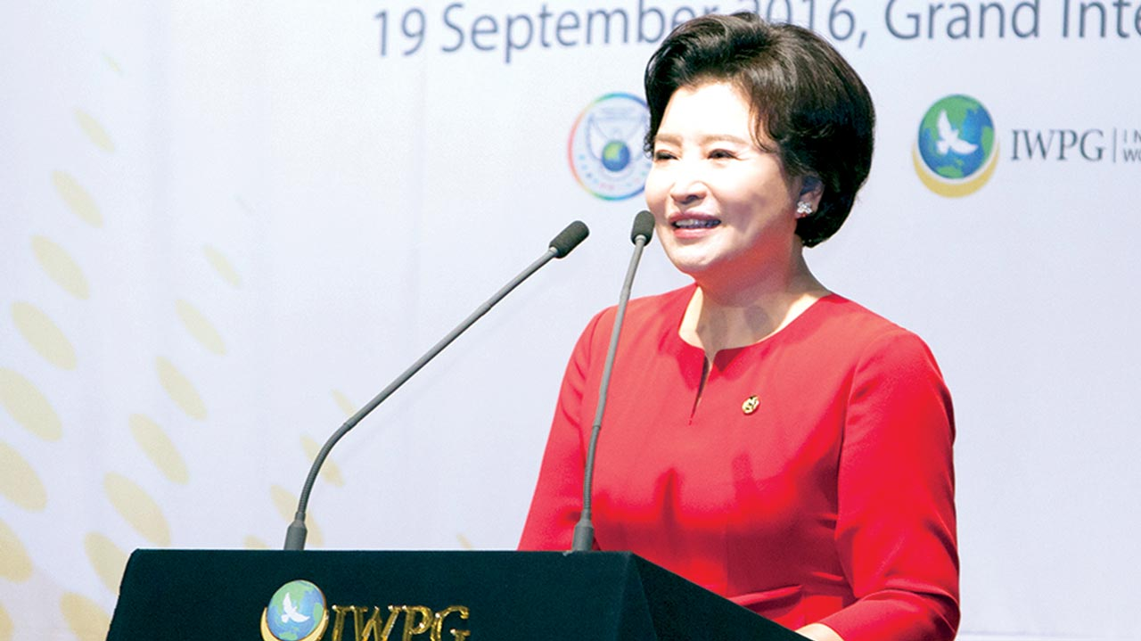IWPG Chairwoman Nam Hee Kim addressing world religious leaders