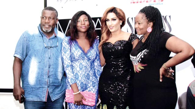 Juliet Ibrahim with actor Ejike Asiegbu and family.