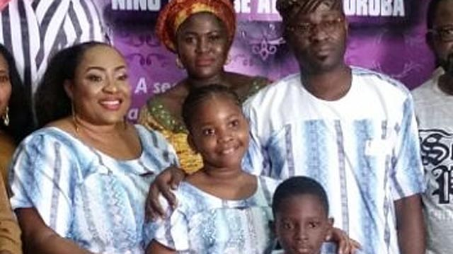 Nollywood star, Foluke Daramola; her daughter, Miss Ibukunola Salako (of Aventure of Ibukunola); her brother, Master Ireoluwakintan Salako and her father, Mr. Kayode Salako at the unveiling of Adventure of Ibukunola last week… in Lagos