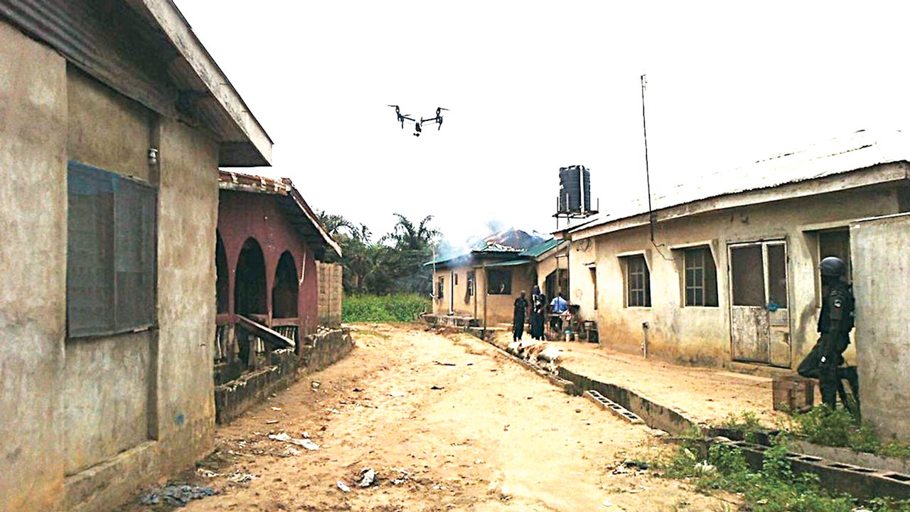 The drone flying over Igando after the militants' attack in July