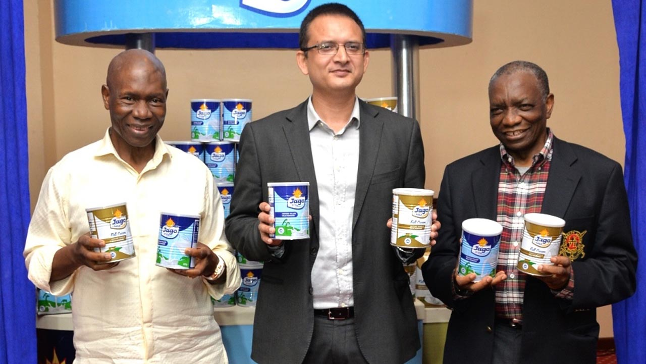 The Chairman, Sosaco Nigeria Limited, Mr. Francis Ogboro, the Managing Director, Sosaco Nigeria Limited, Mr. Shailesh Kumar and the Special Guest, Mr. Mathew Ogboro at the launch of the new Jago Gold and the unveiling of the New Pack Design for Jago D'lite held in Lagos
