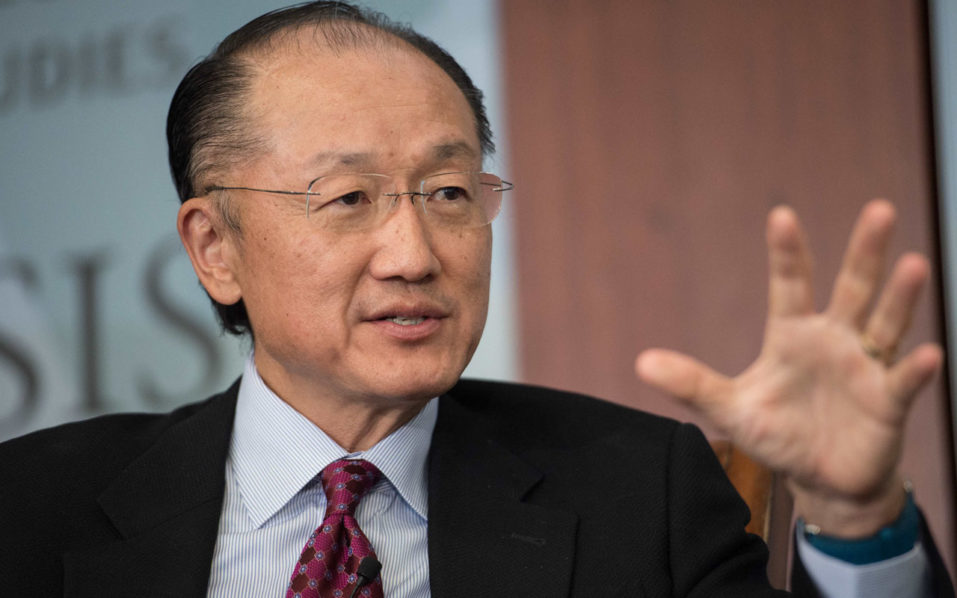"(FILES) This file photo taken on June 1, 2016 shows World Bank president Jim Yong Kim as he speaks during a conversation entitled Preventing The Next Pandemic at the Center for International and Strategic Studies (CSIS) in Washington. World Bank President Jim Yong Kim effectively won a second five-year term after nominations to lead the global development bank closed Wednesday with no other candidates proposed. The World Bank executive board said in a statement that, following official procedures, it would formally meet with Kim as a candidate ""with the expectation of completing the selection process by the 2016 Annual Meetings,"" which take place on October 7-9. / AFP PHOTO / NICHOLAS KAMM"