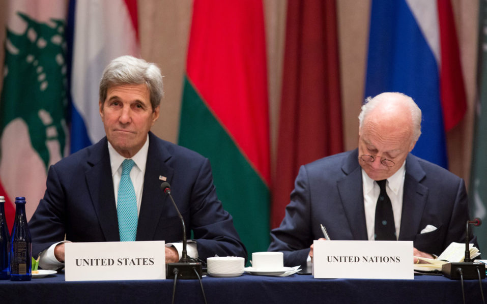US Secretary of State John Kerry(L) and Staffan de Mistura, UN special envoy for Syria, attend the International Syria Support Group meeting September 20, 2016 in New York. US Secretary of State John Kerry and Russia's Foreign Minister Sergei Lavrov opened a meeting of their key international counterparts Tuesday after a week-old ceasefire in Syria's civil war collapsed. The 23-nation International Syria Support Group (ISSG) gathered in a New York hotel amid bitter recriminations between Moscow and Washington over the failure of an agreement to enforce the truce.  / AFP PHOTO / POOL / Kevin Hagen