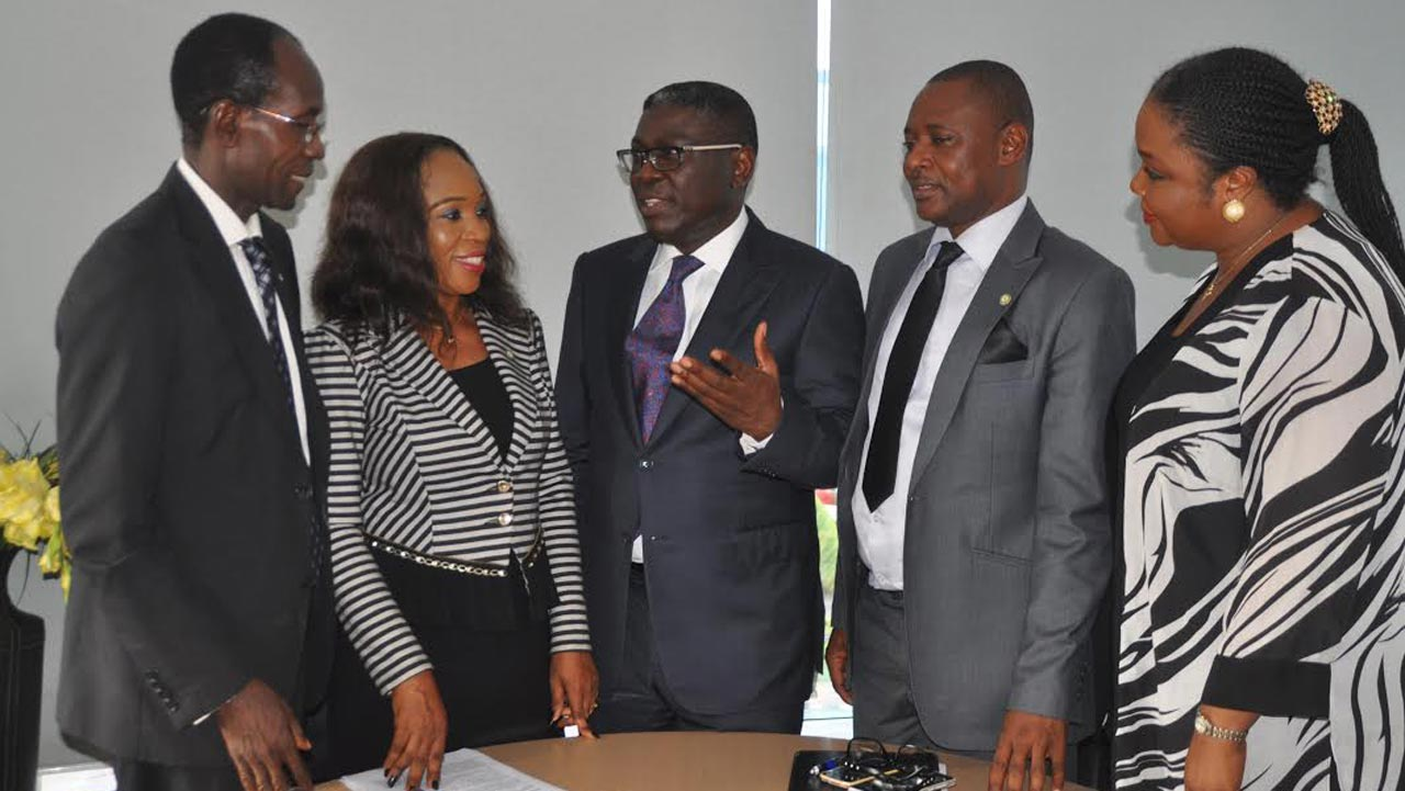 Mr. Femi Fajolu, Alternate Chairman,(left); Mrs. Uche Ikwueme, Secretary; Mr. Kemi Balogun (SAN), Chairman, all of the NBA Lagos Branch 2016 Law Week Committee; Branch Chairman, Mr. Martin Ogunleye and Mrs. Uwala Murphy-Akpieyi, a committee member, at the Press Conference in Lagos to herald the week