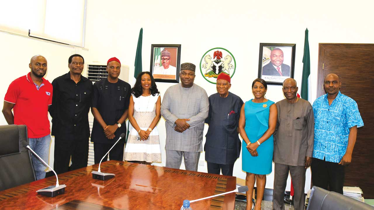 Mr. Chuka Orji (left) representing of the founder of LIMCAF, Chief Robert Orji; CEO Artsaels Ltd, Mr. Tayo Adenaike; Chairman, Enugu State Council for Arts and Culture, Dr. Obiora Anidi; Ifeoma Igboji; Enugu State Governor Ifeanyi Ugwuanyi; Chairman, Board of Trustee, LIMCAF, Elder K. U. Kalu; Chief Loretta Aniagolu of FIT Consult; Executive Director of the Festival, Mr Kevin Ejiofor; and Art Director, LIMCAF, Ayo Adewunmi during a visit to the Governor on June 7, 2016