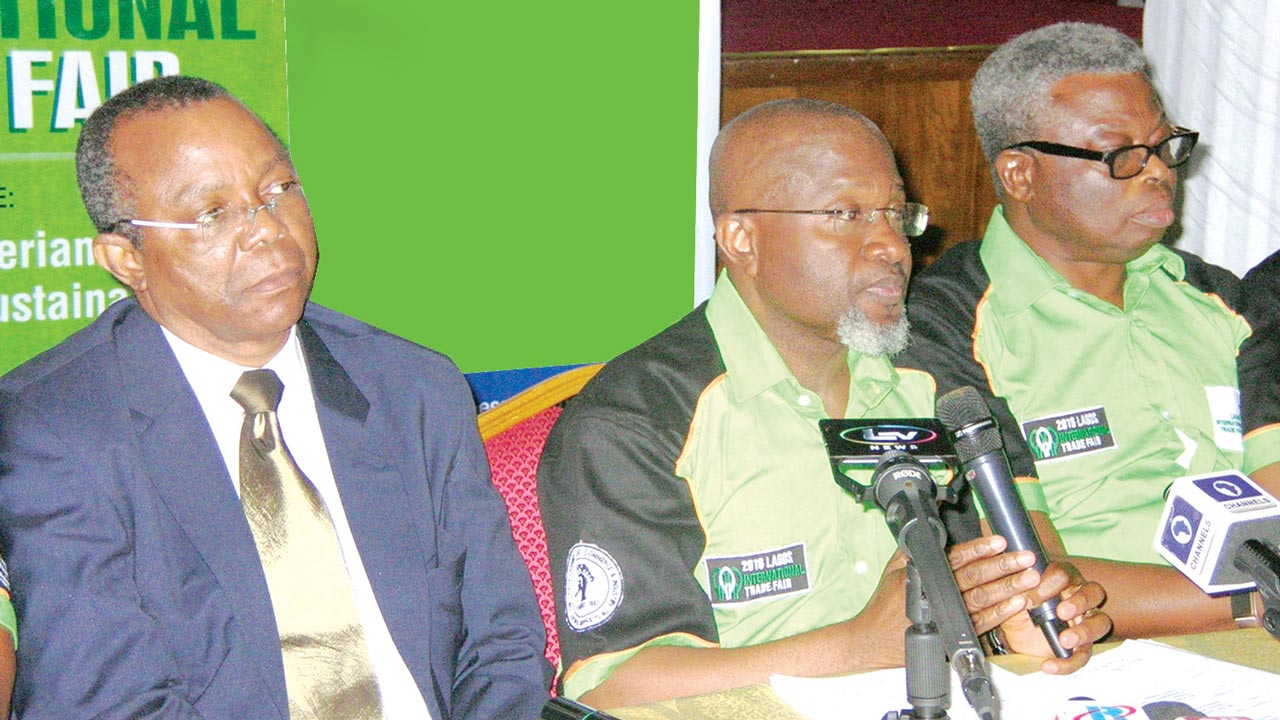 Treasurer, LCCI, Gabriel Idahosa (left); Vice President and Chairman of LCCI Trade Promotion Board, Sola Oyetayo, and, Member, LCCI Trade Promotion Board, Leye Kupoluyi during a press briefing to herald the 2016 Lagos International trade fair held at the LCCI Conference and Exhibitoin Centre, Alausa, Ikeja, Lagos on Monday.