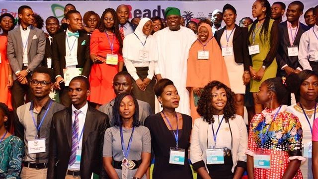Lagos State Governor, Akinwumi Ambode, in a group photograph with Ready.Set. Work graduating students