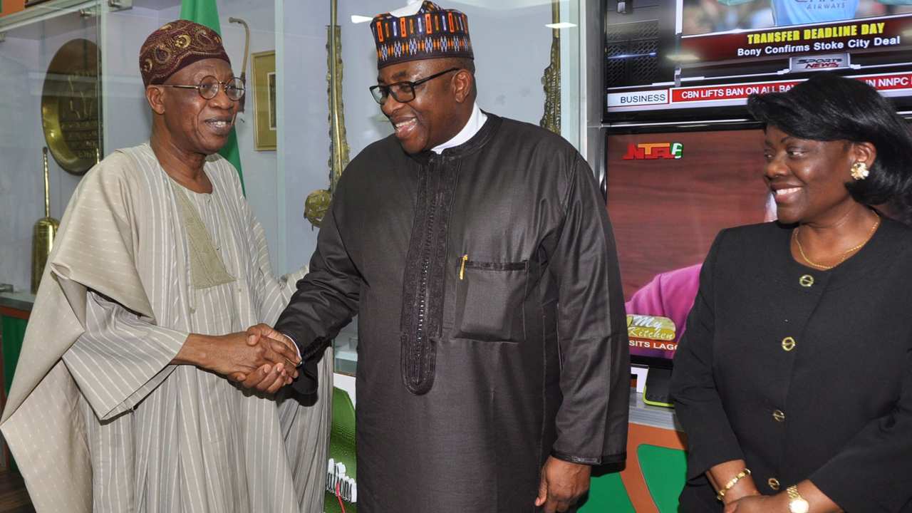 Minister of Information and Culture, Alhaji Lai Mohammed, Governor of Bauchi State, Alhaji Mohammed Abubakar, and the Permanent Secretary, Federal Ministry of Information and Culture, Mrs. Ayo Adesugba when the Governor paid a courtesy visit to the Minister in Abuja on Wednesday.