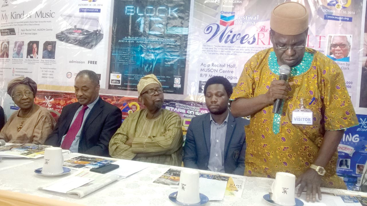 MUSON Trustee, Chief (Mrs.) Francesca Emanuel; Vice Chairman, Mr. Louis Mbanefo; trustee, Chief Adeniyi Williams; musical theatre director, Mr. Ayo Ajayi and drama director, Mr. Ben Tomoloju at the briefing last week… in Lagos