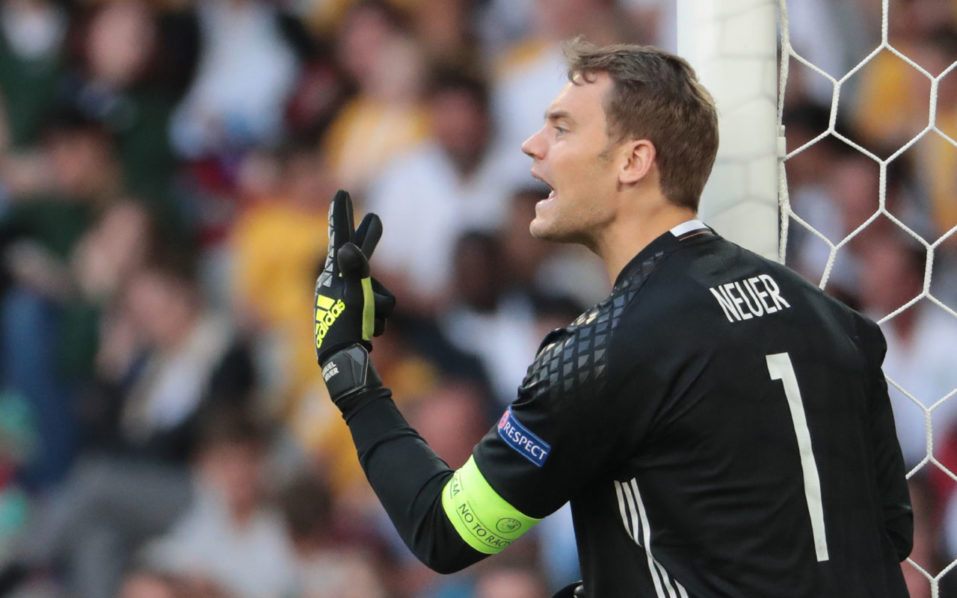 (FILES) This file photo taken on June 26, 2016 shows Germany's goalkeeper Manuel Neuer during the Euro 2016 round of 16 football match between Germany and Slovakia at the Pierre-Mauroy stadium in Villeneuve-d'Ascq near Lille. Bayern Munich goalkeeper Manuel Neuer was on September 1 named as the new captain of world champions Germany following Bastian Schweinsteiger's international retirement. / AFP PHOTO / KENZO TRIBOUILLARD