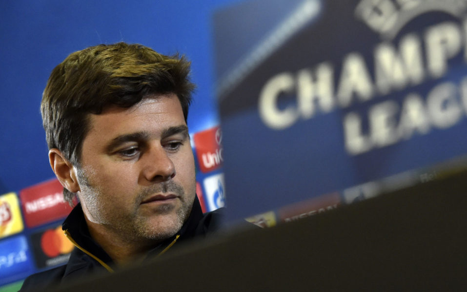 Tottenham Hotspur's Argentinian head coach Mauricio Pochettino gives a press conference  at the CSKA Arena in Moscow, on September 26, 2016, on the eve of the Champions League football match between CSKA Moscow and Tottenham. / AFP PHOTO / YURI KADOBNOV