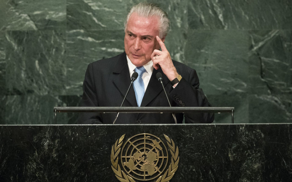 NEW YORK, NEW YORK - SEPTEMBER 20: President of Brazil Michel Temer addresses the United Nations General Assembly at UN headquarters, September 20, 2016 in New York City. According to the UN Secretary-General Ban ki-Moon, the most pressing matter to be discussed at the General Assembly is the world's refugee crisis.   Drew Angerer/Getty Images/AFP