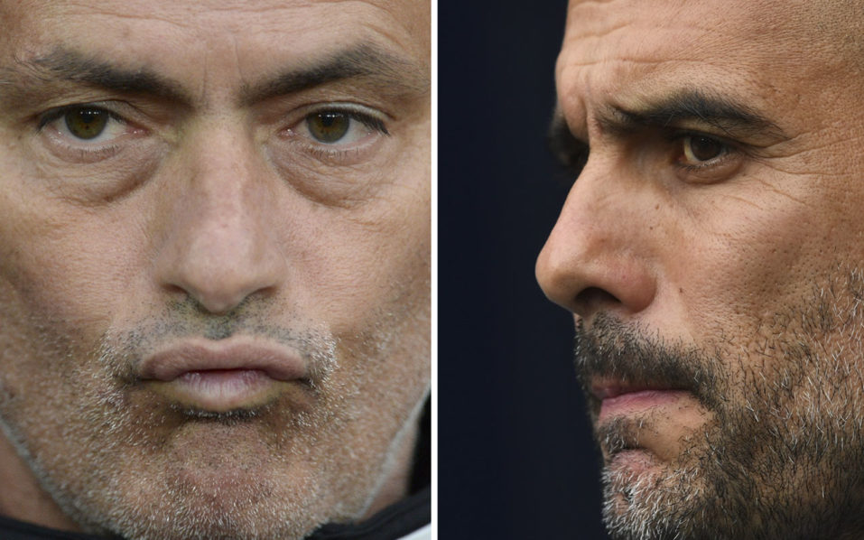 A combination of pictures created in London on September 8, 2016 shows Manchester United's Portuguese manager Jose Mourinho (L) reacting as he waits for kick off of the friendly Wayne Rooney testimonial football match between Manchester United and Everton at Old Trafford in Manchester, northwest England, on August 3, 2016 and Manchester City's Spanish manager Pep Guardiola (R) waiting for kick off of the English Premier League football match between Manchester City and Sunderland at the Etihad Stadium in Manchester, north west England, on August 13, 2016 Manchester United welcome Manchester City to Old Trafford on September 10, 2016 in a derby match that sees opposing managers Jose Mourinho and Pep Guardiola renew their sulphurous rivalry. / AFP PHOTO / Oli SCARFF AND Paul ELLIS /