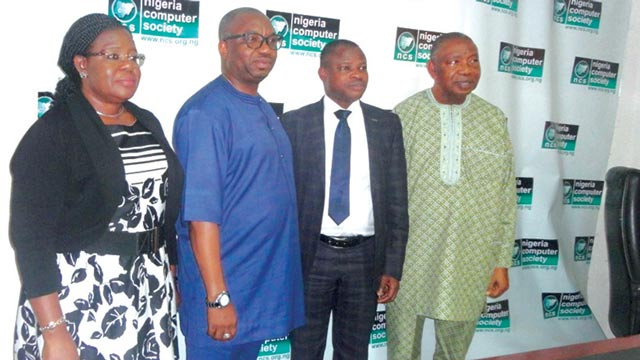Deputy President, Nigeria Computer Society (NCS), Mrs Ola Owolabi (left); Acting Director- General, National Information Technology  Development Agency (NITDA), Dr. Vincent Olatunji; President NCS, Prof. Sola Aderounmu and Provost College of Fellows, NCS, Deacon Ojinta Oji Alala, during the visit of Olatunji to NCS in Lagos.