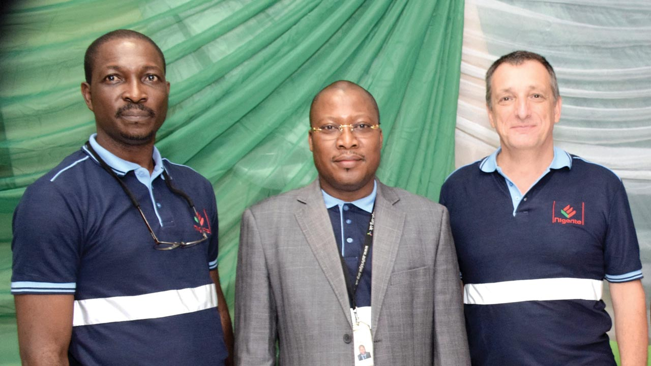 General Manager, Human Resources, Nigerite Ltd., Mr. Joshua Bamigboye; Chief Finance Officer, Mr. Gbolahan Tijani; Chief Operating Officer, Nigerite Ltd., Mr. Bart Verlinden; Quality Safety Health and Environment Manager, Nigerite Ltd., Mr. John Bamigboye and Institute of Safety Professionals of Nigeria, Lagos State Secretary, Mr. Harold Echendu during the one year accident free operations celebration by the company at its premises.