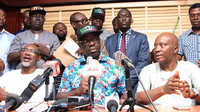 Obaseki, middle with party leaders after his declaration as governor-elect